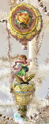 Fairy Riding Butterfly in Fanciful Glass Hot Air Balloon with Bell Basket