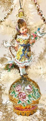 Girl in Yellow Spring Dress with Lace on Glass Flower Basket Ornament