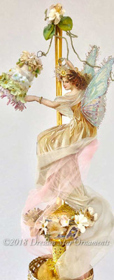 Fairy Ringing Bell on Tall Gold Glass Spire Topper Wreathed in Flowers