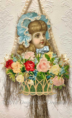 Large Girl in Bonnet with Glorious Basket of Roses Paper and Tinsel Ornament