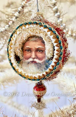 Lively Santa with Fluffy Fur Hood in Red Indent with Glass Bead