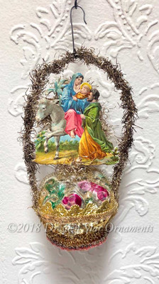 Mary on Donkey with Baby Jesus and Joseph on Figural Glass Basket