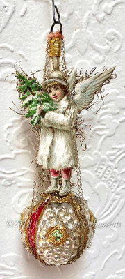 Petite Snow Angel with Tree on Jeweled Antique Bumpy Glass Ornament