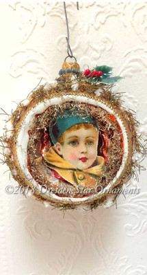 Victorian Boy In Large Orange Indent Ornament Framed in Chenille Tinsel