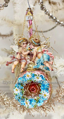 Twin Angels on Pink Antique Bumpy Glass Ornament with Rose Center