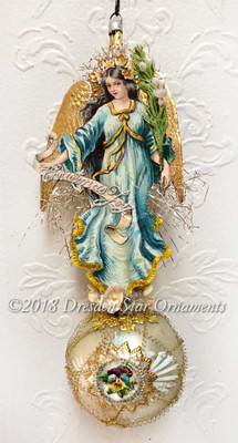 Brunette Angel in Blue Dress with Dresden Paper Wings on Delicate Antique Sphere with Pansy