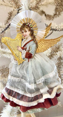Dresden Angel Playing Harp with Spun Glass Halo and Beautiful Antique Gauze Skirt