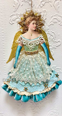 Stunning Blue Dresden Angel with Doily Skirt Edged with Lush Velvet Ruffle