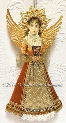 Elegant Golden Tudor-Style Dresden Angel with Pearl Tiara and Gold Netting