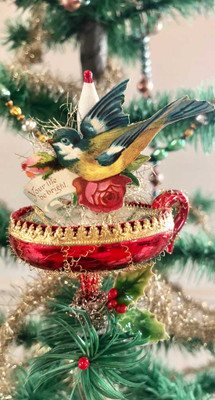 Reserved for Dominique – Beautiful Bird on Antique Red Candle-Clip Ornament