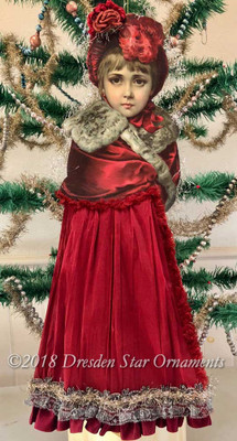 Reserved for Dennis - Magnificent Large Victorian Girl in Red with Crepe-Paper Skirt