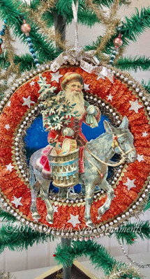 Reserved for Dennis – Santa Riding Donkey on Starry Christmas Night Wreath