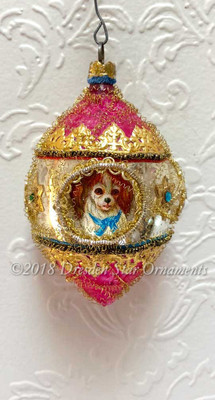 3 Ornaments in One!  Dog, Cat, and Horse in 3-Sided Antique Oval Indent Ornament