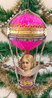 Cherub Angel with Lavender Wings on Antique Pink Double-Balloon