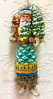 Jolly Santa Holding Tree with Aqua-Blue Pinecone Body