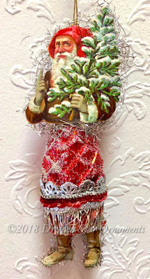 Jolly Santa Holding Tree with Red Pinecone Body