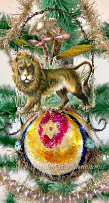 Lion on Multicolored Antique Ornament with Rare Antique Yarn Flowers