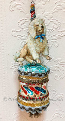Realistic Standard Poodle on Twisted Glass Barrel Ornament