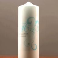 Heart Filigree Personalized Pillar Candle