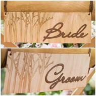Wood Veneer Bride and Groom Chair Sign Set