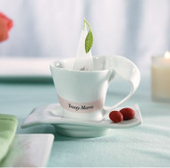 """Swish"" White Cup and Saucer Set (Set of 4)"