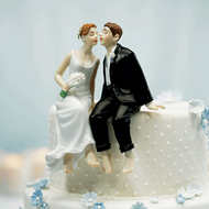 Whimsical Sitting Bride and Groom