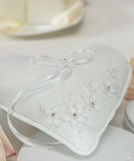 Floral Fantasy Heart-Shaped Ring Pillow