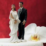 Contemporary Indian Bride and Groom Cake Topper Set