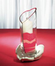"Heart-Shaped Memorial Vase & ""Loving Hands"""