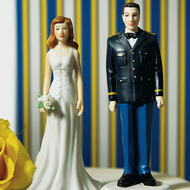Military Groom in U.S. Army Uniform and Bride Cake Topper Set
