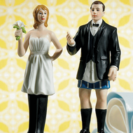 """Bride """"In Charge"""" Wearing Pants and Groom """"Not In Charge"""" Cake Topper Set"""