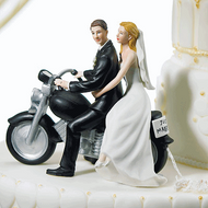 """Motorcycle """"Get-away"""" Couple Cake Topper"""