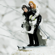 Winter Skiing Couple Cake Topper