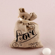 Mini Linen Drawstring Favor Bag with Love Design (Set of 12)