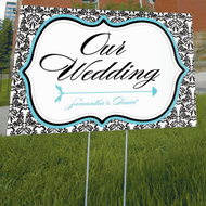 Love Bird Damask Directional Sign
