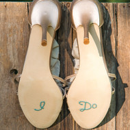 """I Do"" Shoe Stickers in Blue Pearls and Crystals"
