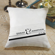 """Notable"" Personalized Ring Pillow in Black and White"
