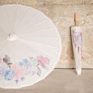 Paper Parasol With Vintage Floral Print