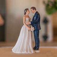 Contemporary Vintage Bride & Groom Cake Topper