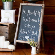 Self-Standing Chalkboard Sign With Rustic Wood Frame