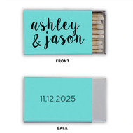 Rustic Names and Date Personalized Classic Matchbox (Set of 50)