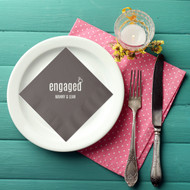 engaged with Ring Personalized Wedding Napkins | Engagement Party Napkins