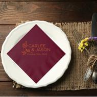 A Trio of Autumn Leaves Personalized Wedding Napkins | Wedding Reception Napkins