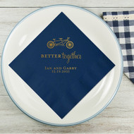 Bicycle better together Names and Date Personalized Wedding Napkins | Wedding Reception Napkins