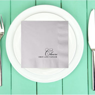 Cheers with First Names Personalized Wedding Napkins | Wedding Reception Napkins