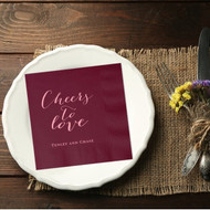 Cheers to Love Personalized Wedding Napkins | Wedding Reception Napkins