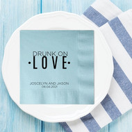 Drunk On LOVE Personalized Wedding Napkins | Wedding Reception Napkins
