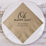 Oh HAPPY DAY! Personalized Wedding Napkins | Wedding Reception Napkins