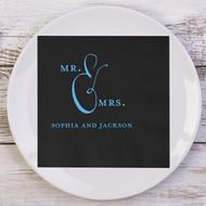 MR. & MRS. Rustic Styled Personalized Wedding Napkins | Wedding Reception Napkins