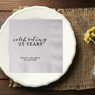 celebrating 25 YEARS Personalized Anniversary Party Napkins | Anniversary Party